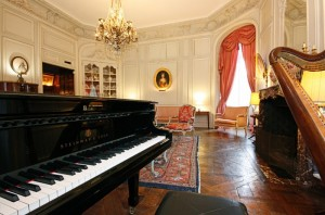 Pride-Travel-Chateau-de-Normandie-7-piano-harp-room-sitting-living-lounge