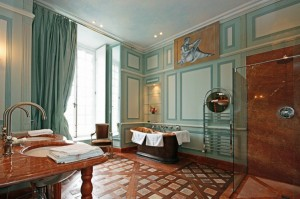 Pride-Travel-Chateau-de-Normandie-8-bath-room-bathroom-marble-copper-green