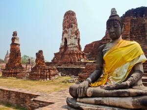 자존심 - 여행 - 태국 아유타야 - 앉아 - 부처님 명상 - 동상